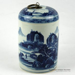 RZCC01_h7″ Hand painted blue and white Porcelain Canister with ring lid