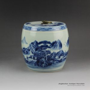 RZCC05_Hand paint landscape pattern blue and white ceramic tiny jar