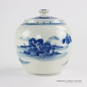 RZCC12-B_Hand made hills and rivers pattern ceramic tea caddy