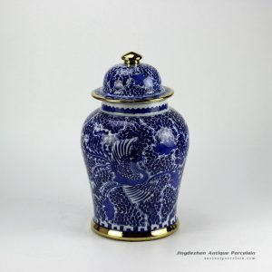 RZCM05-GOLD_Golden line pleated hand paint phoenix pattern gallery display high quality ceramic jar