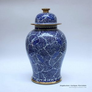 RZCM09_Golden line plated hand paint blue and white floral pattern ceramic ginger jar