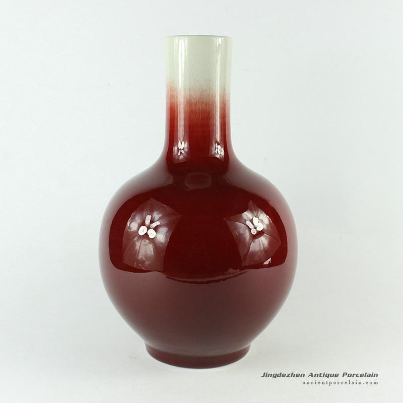 RZCN03_H11.8″ decorative modern vases Oxe Blood Red Porcelain Vase