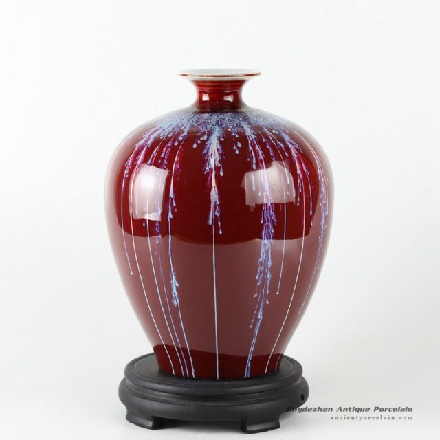 RZCN06_10.6″ Ceramic Chinese vase oxblood red