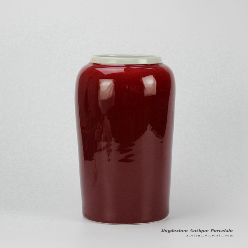 Rzcn10oxblood Glazed Modern Red Vase Chinese Antique Porcelain