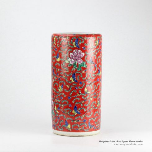RZCX01-A_Famille rose hand paint multi-color butterfly floral pattern porcelain umbrella stands