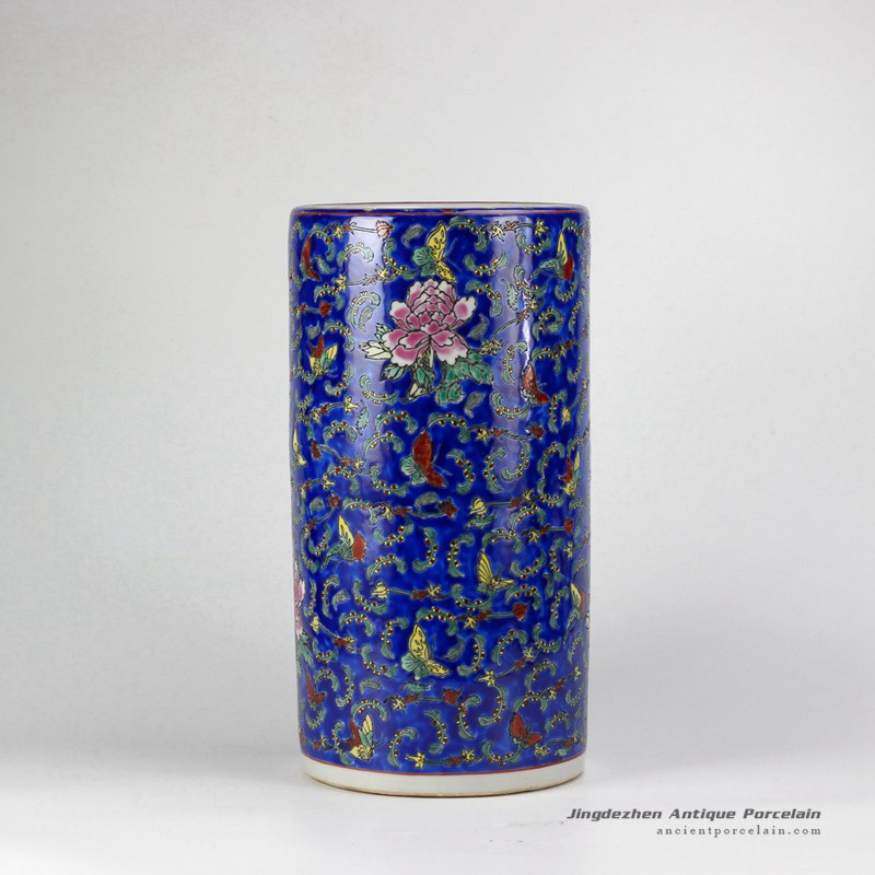 RZCX01-B_Famille rose hand paint multi-color butterfly floral pattern porcelain umbrella stands
