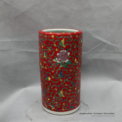 RZCX01_Famille rose floral painted ceramic umbrella stand red