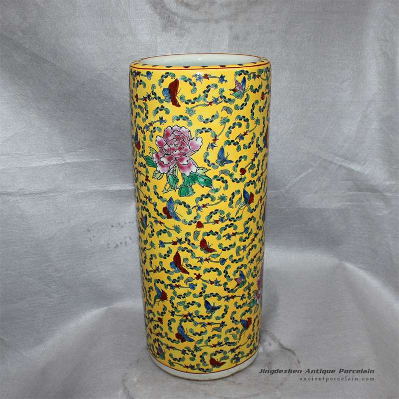 RZCX01_Famille rose floral painted ceramic umbrella stand yellow