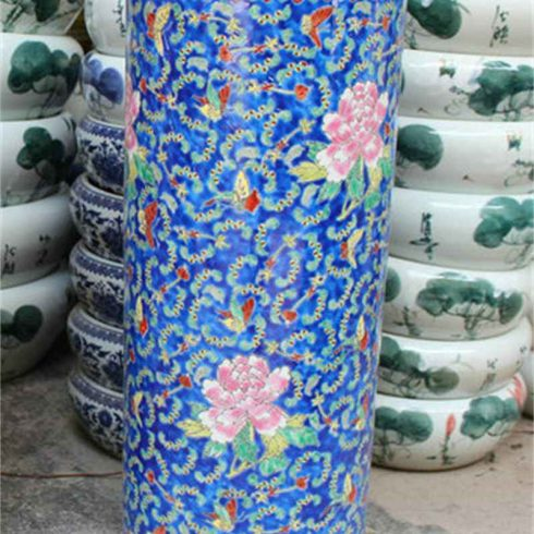 RZCX01_Famille rose floral painted ceramic umbrella stand blue