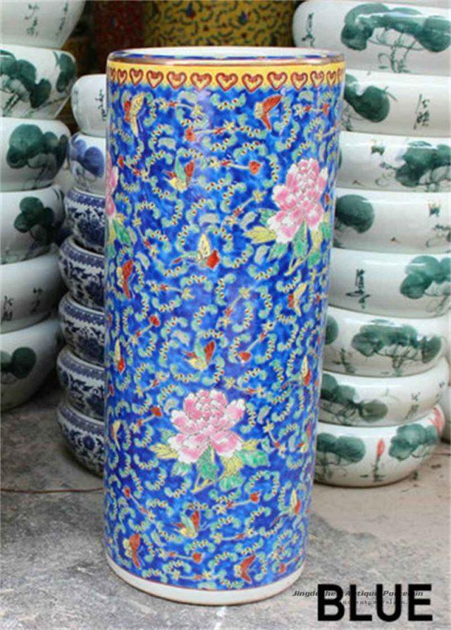 RZCX01_Famille rose floral painted ceramic umbrella stand blue