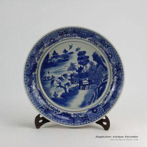 RZDA09_D14″ Hand Painted Blue White Round Porcelain landscape Plate