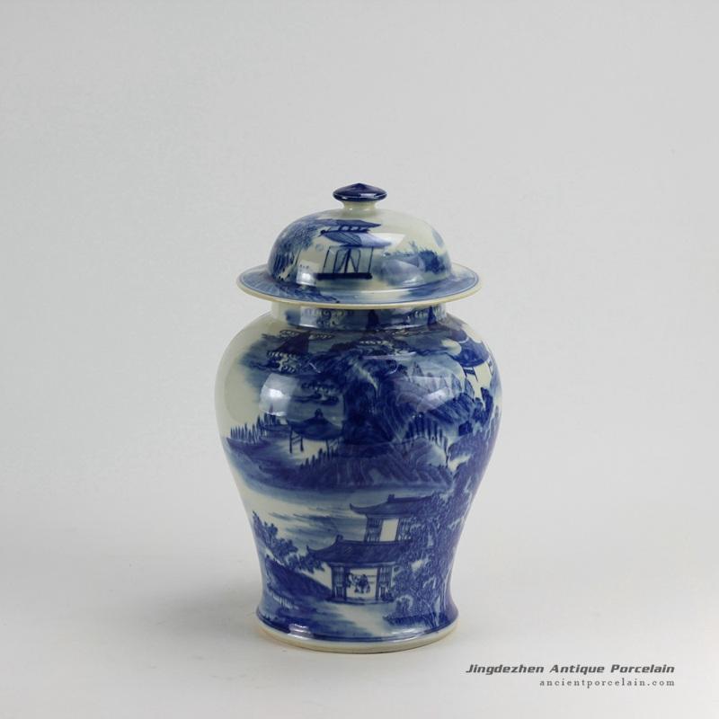 RZDA15_H14 inch Hand Painted Landscape Blue White Ginger Jar