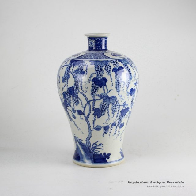 RZDA18_Blue and white hand paint grape vine pattern reproduction Meiping vase