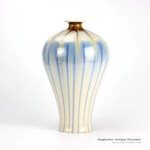 RZEK02-B_Transitional sky blue stripe short neck pottery vase
