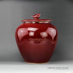 RZEQ01_12.5″ Red bird lid Ceramic Jar