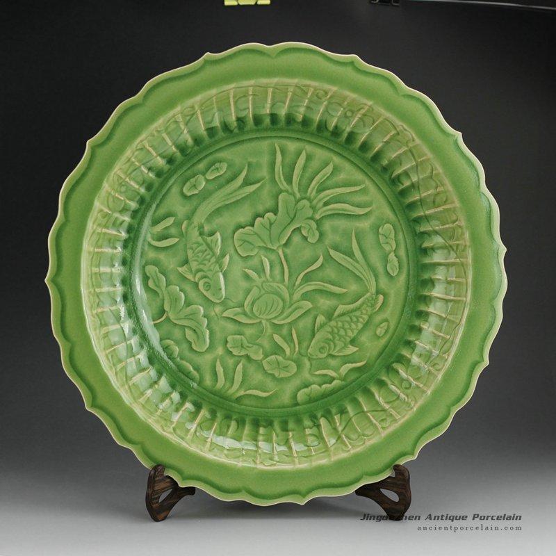RZES01-B_17inch Celadon engraved dragon, flower and fish design decor. porcelain plate