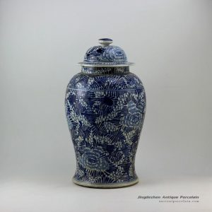 RZEY06_18″ Painted blue and white floral design porcelain ginger jars