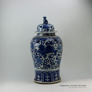 RZEY08_21″ Lion design with lion heads on top blue and white ginger jars