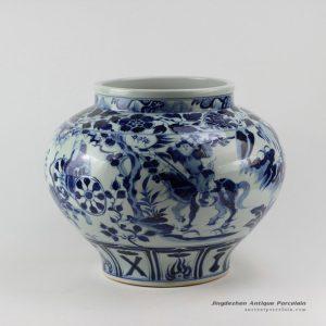 RZEZ02-E_14.5″ Guigu zi design blue and white Ming reproduction Porcelain Jars