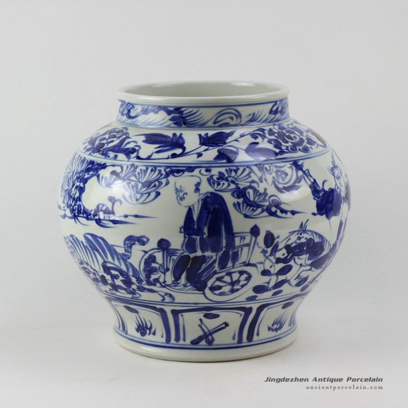 RZEZ02-F_11″ blue and white Ming reproduction Porcelain Jars Xiaohe chase Hanxin design