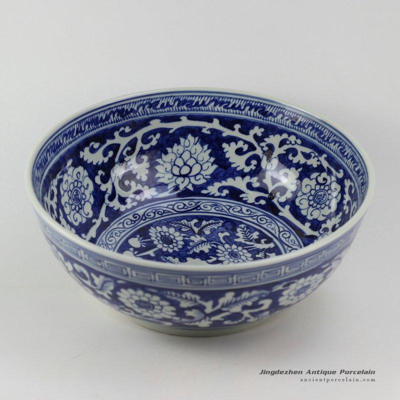 RZEZ04_15.3″ Reproduction blue and white Ming Porcelain floral Bowl