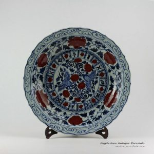 RZEZ09-A_17.5″ Ming Reproduction blue and white copper red phoenix Porcelain plates