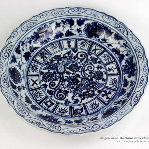 RZEZ09-E_Hand paint phoenix pattern carved floral edge blue and white large ceramic plate