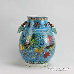 RZFA08_H13 Inch Jingdezhen hand painted Famille rose kylin design porcelain deer handle vase