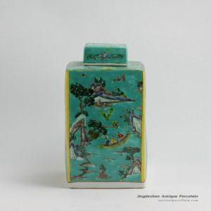 RZFA11_H13 Inch Jingdezhen hand painted Famille rose landscape design square porcelain jars