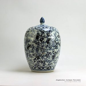 RZFB01_H14.2″ Jingdezhen Ceramic blue and white jars long life design