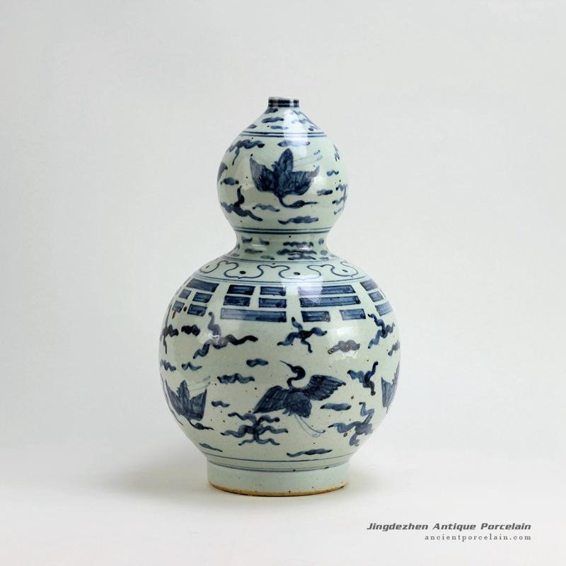 Rzfb02h15inch Jingdezhen Ceramic Blue And White Gourd Vases