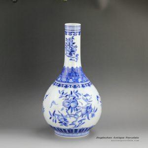 RZFD01_14.5″ Jingdezhen Qing dynasty Kangxi period reproduction Bright Blue White Peach design Porcelain Vases