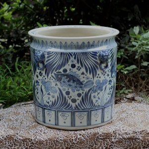 RZFH02_Hand paint Asian style mandarin fish seaweed pattern lion head handle big clay pots for plants