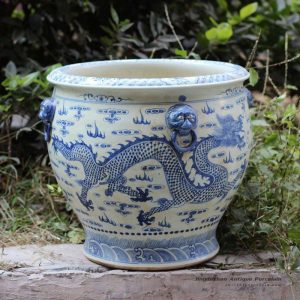 RZFH03-C_Hand paint blue and white flying dragon pattern wholesale ceramic large garden pots