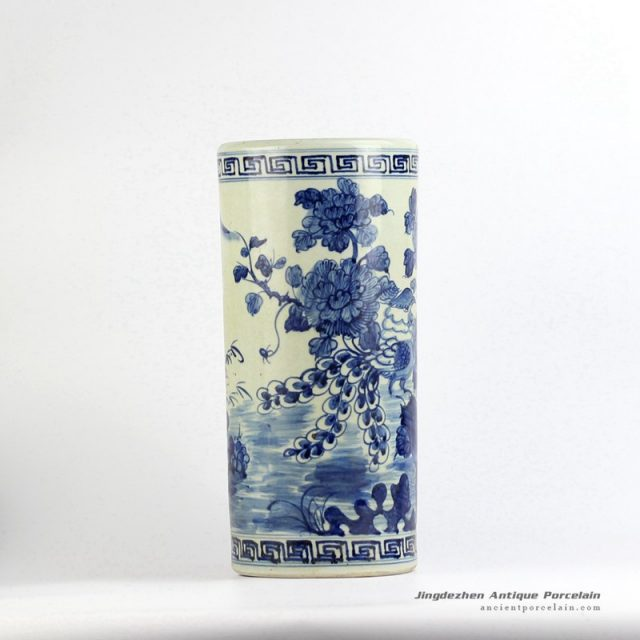 RZFH04-A_Antique style hand paint blue and white bird floral pattern ceramic large tubular vase