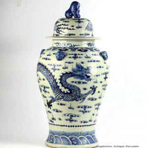 RZFH06_Antique design hand paint dragon phoenix pattern lion knob lid ceramic ginger jar