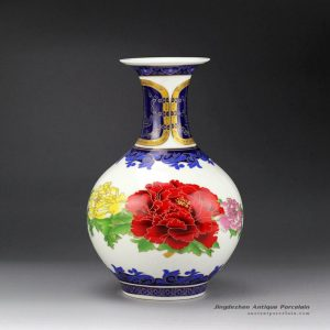 RZFT03_Peony flower pattern wealth and honor moral colorful ceramic wholesale vase