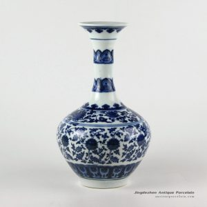 RZFU02_Bamboo joint design wide curled rim blue and white floral porcelain vase made in China
