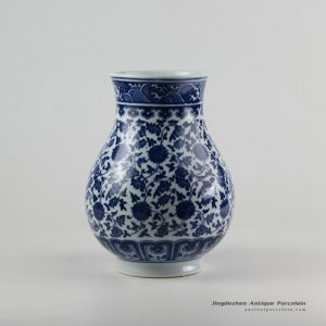 RZFU08_Blue and white floral mark round belly ceramic wide open top vase