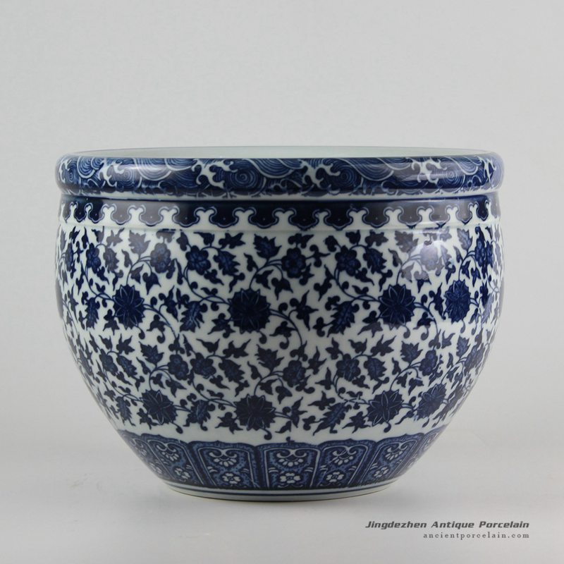 RZFU09-A_Blue and white manufacturer outlet floral ceramic planter ...