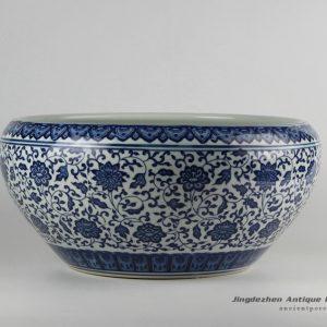 RZFU10-A_Blue and white floral porcelain planter pot