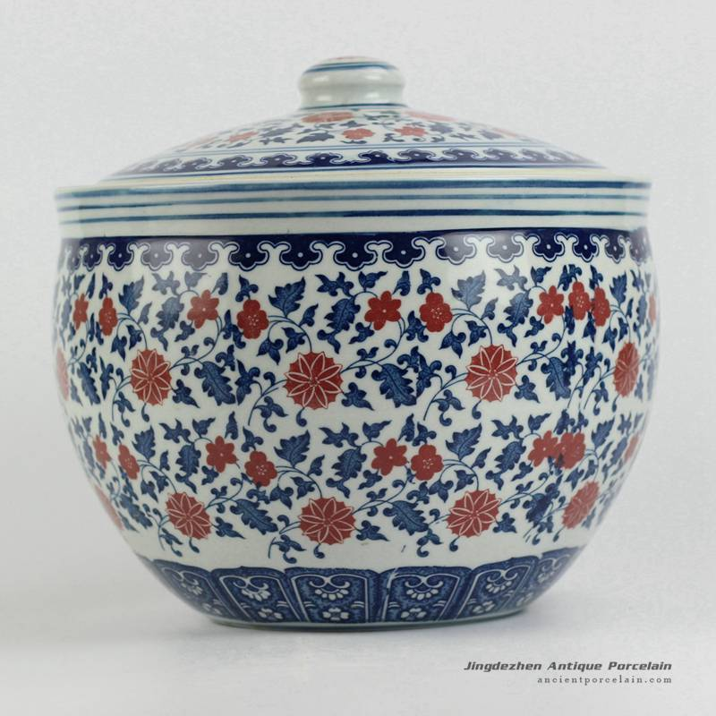 RZFU15-A_Low price Blue and white red floral big porcelain storage jar with lid
