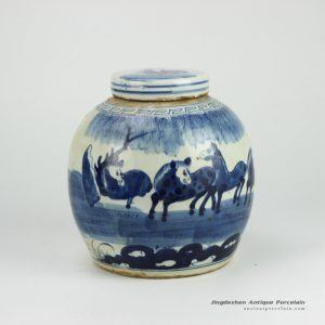 RZFZ01-B_Hand paint blue and white horse pattern lidded urn