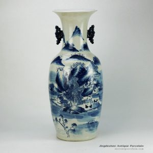 RZFZ04-B_Hand paint gorgeous landscape pattern blue and white ornament porcelain big vase