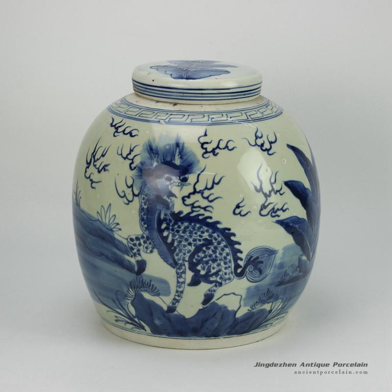 RZFZ05-E_vintage hand paint chinese kylin pattern blue white porcelain storage bottle