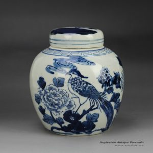 RZFZ06-A_Hand paint blue and white bird floral pattern porcelain container