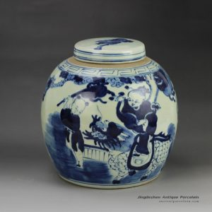 RZGC01-B_Hot sale hand paint fair children kylin pattern blue and white porcelain antique pot