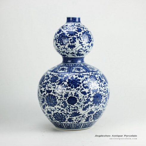 RZGM01_Hand paint interlock lotus pattern calabash shape big ceramic vase