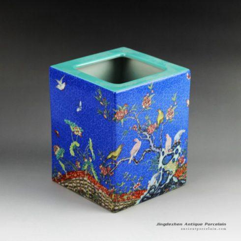 RZGN01_Famille rose square ceramic pencil vase