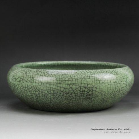 RZGO01_Shallow crackle glazed small green ceramic plant pots